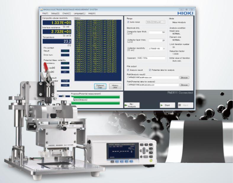 Sistema medida resistencia electrodos en baterías RM2610 HIOKI